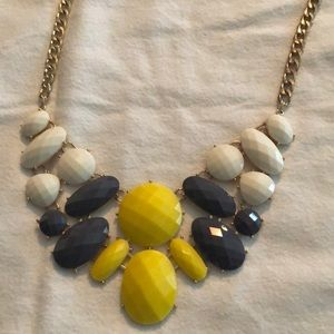 Yellow, gray and white statement necklace
